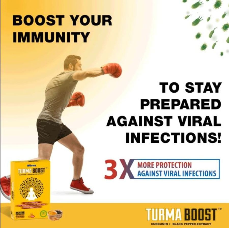 Turmaboost 10 Caps - Turmeric Curcumin And Piperine Extract Capsules For Improving Immunity | Anti-ageing |joint Pain |weight Loss | Blood Purifier
