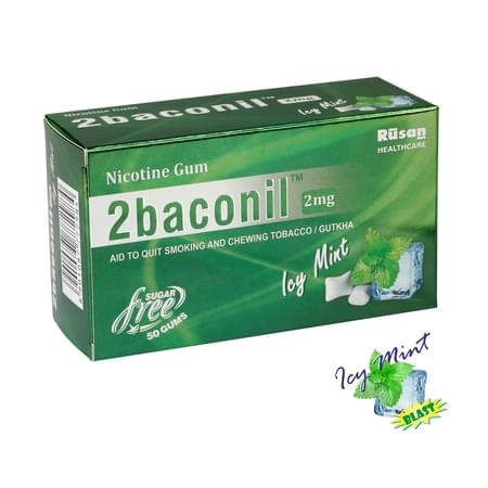 2baconil 2mg Nicotine Gum For Quit Smoking/tobacco (for Less Than 20 Cigarettes/day Smoker)