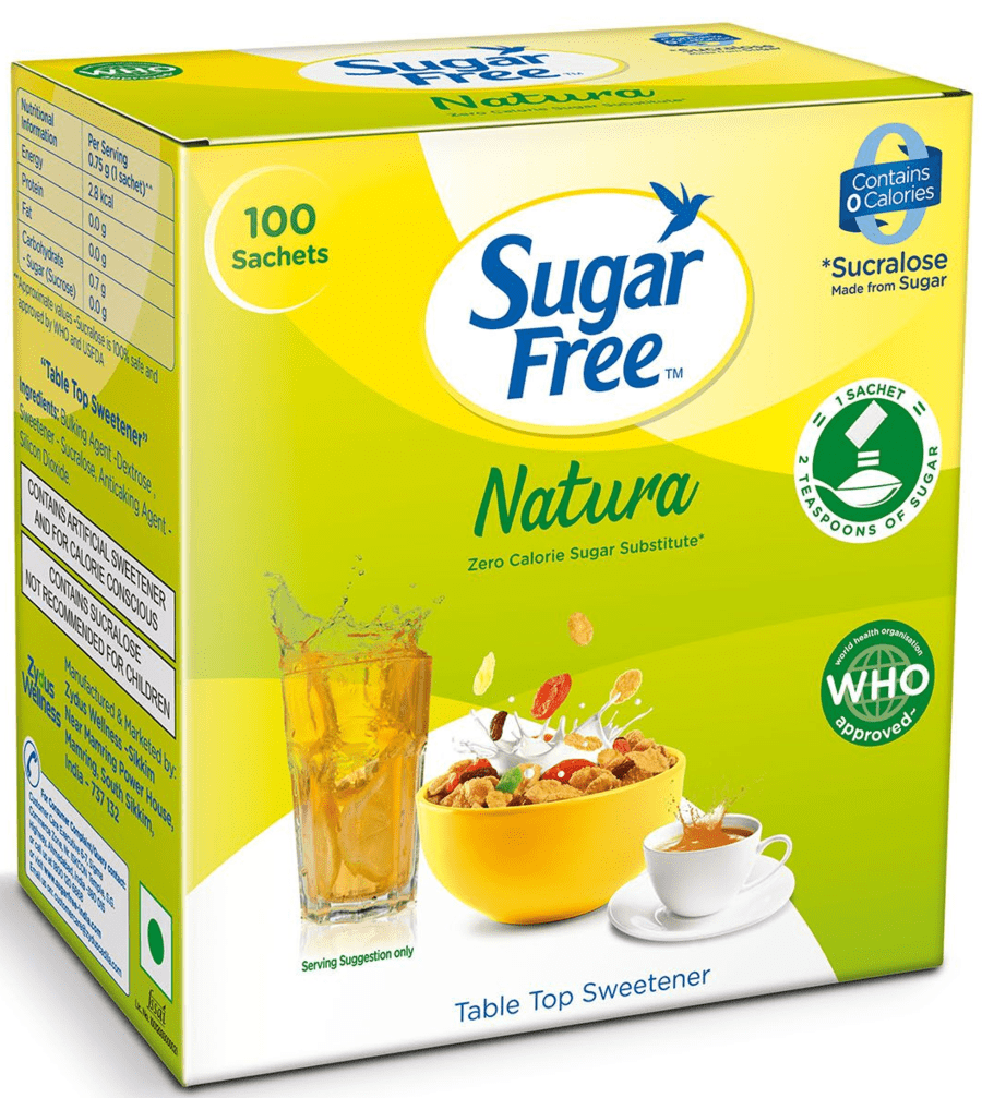 Sugar Free Natura 100 Sachet - Zero Calorie Sweetener& Sugar Substitute