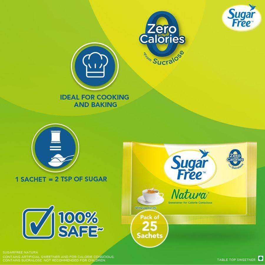 Sugar Free Natura Sugar Substitute Sachets Low Calorie Box Of 25