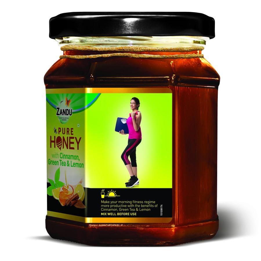 Zandu Pure Honey With Cinnamon, Green Tea & Lemon - 250gm