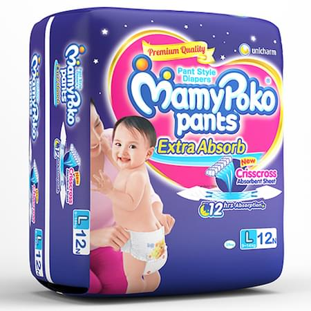 Mamypoko Pants Extra Absorb Diaper Large Size Pack Of 12